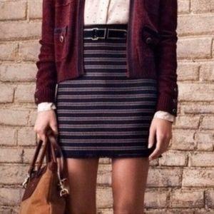 Club Monaco Wool Blend Tweed Mini Skirt Navy Blue